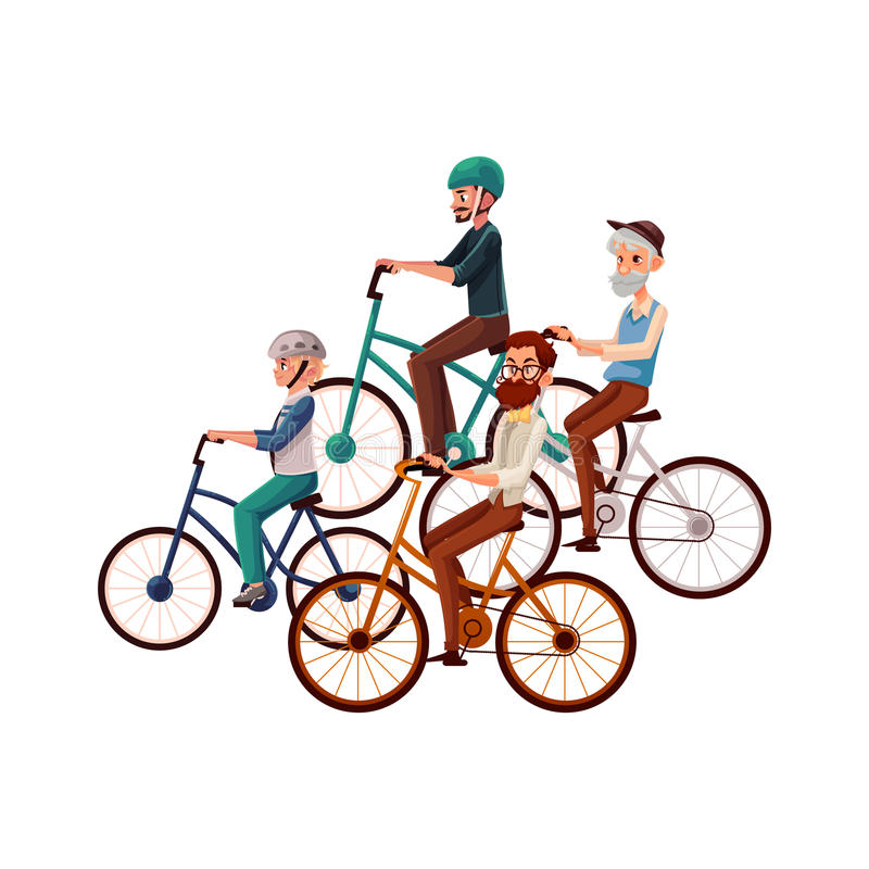Teenage boy and young, mature, old men riding bicycles, cycling stock illustration