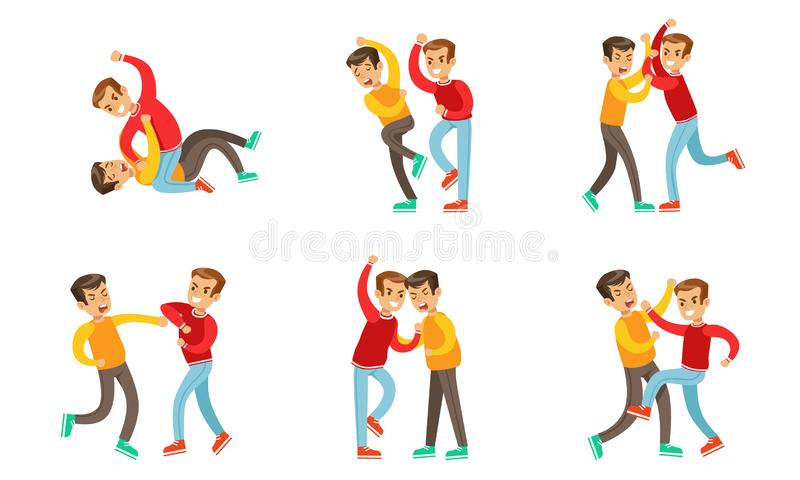 Teenage Boys Fighting and Quarreling Set, Aggressive Behavior at School, Aggressive Boy Pushing and Kicking Another royalty free illustration
