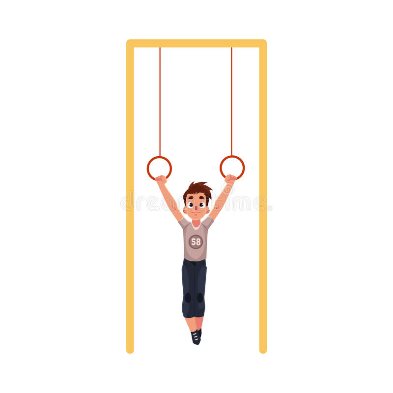 Teenage Caucasian boy hanging on gymnastic rings at the playground royalty free illustration