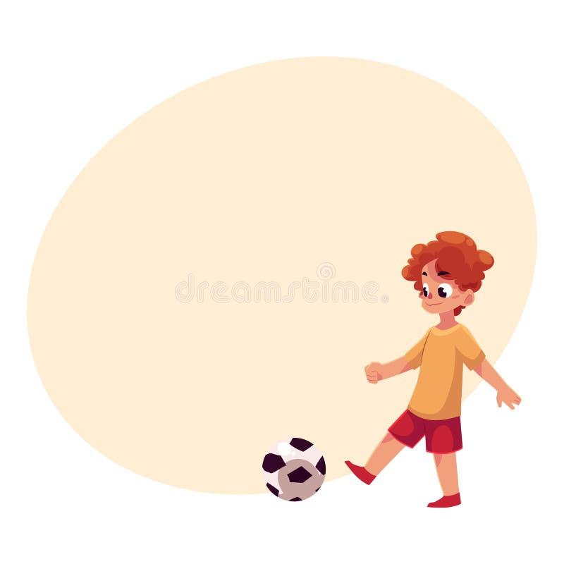 Teenage Caucasian boy kicking football ball at playground vector illustration