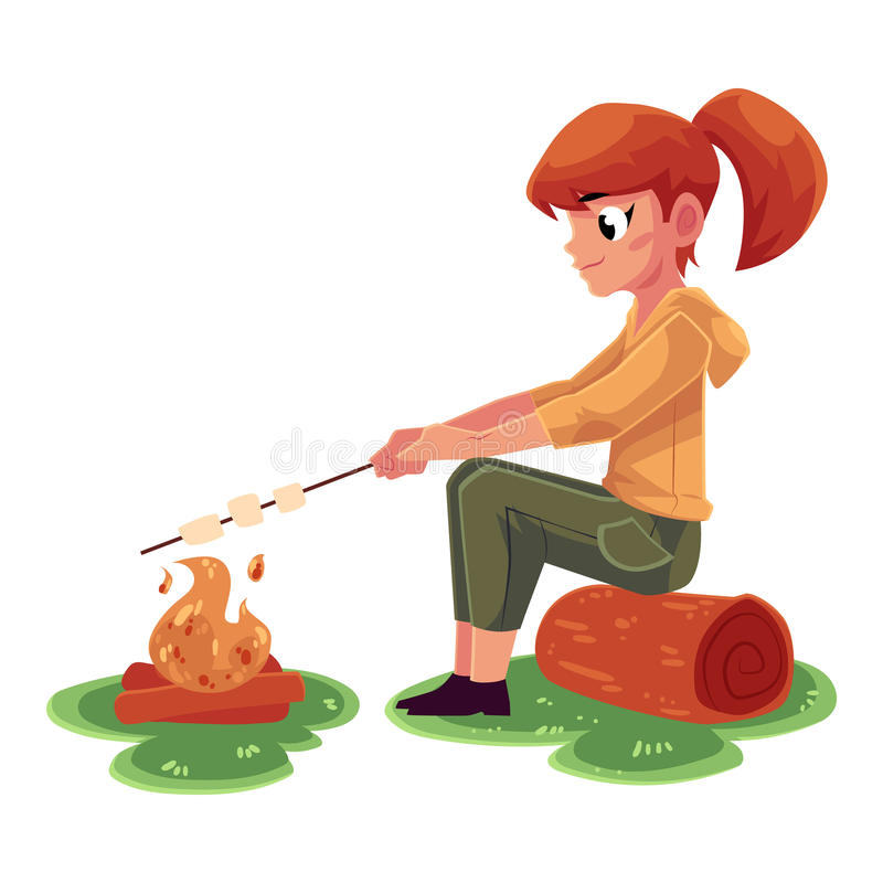 Teenage Caucasian girl frying marshmallow on fire, camping, hiking concept vector illustration