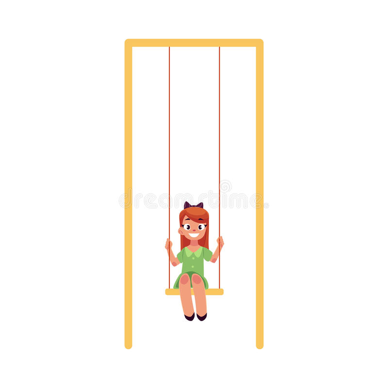Teenage Caucasian girl in green dress sitting on a swing at the playground royalty free illustration