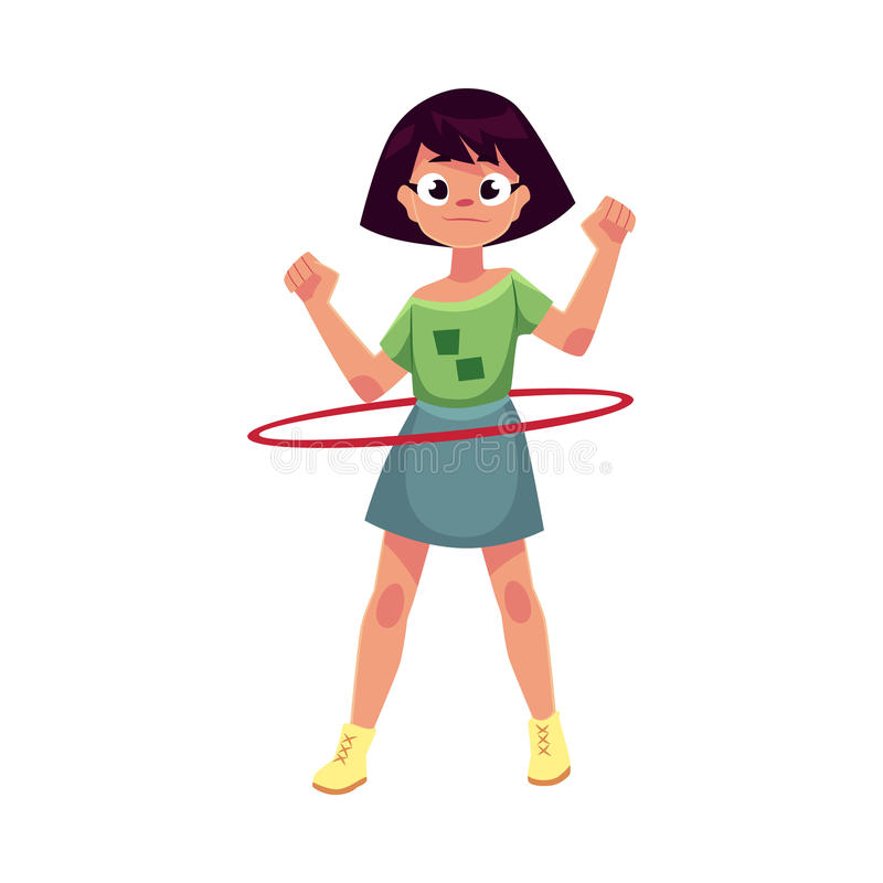 Teenage Caucasian girl spinning, playing with hula hoop vector illustration