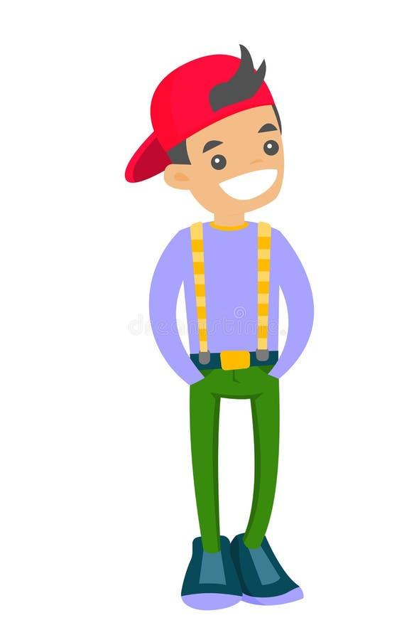 Teenage caucasian white boy in baseball cap. stock illustration