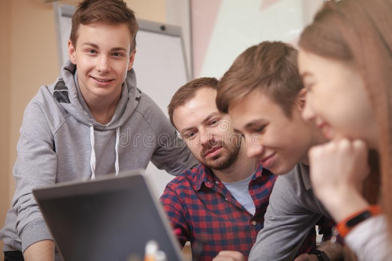 Teenage classmates studying together royalty free stock photos