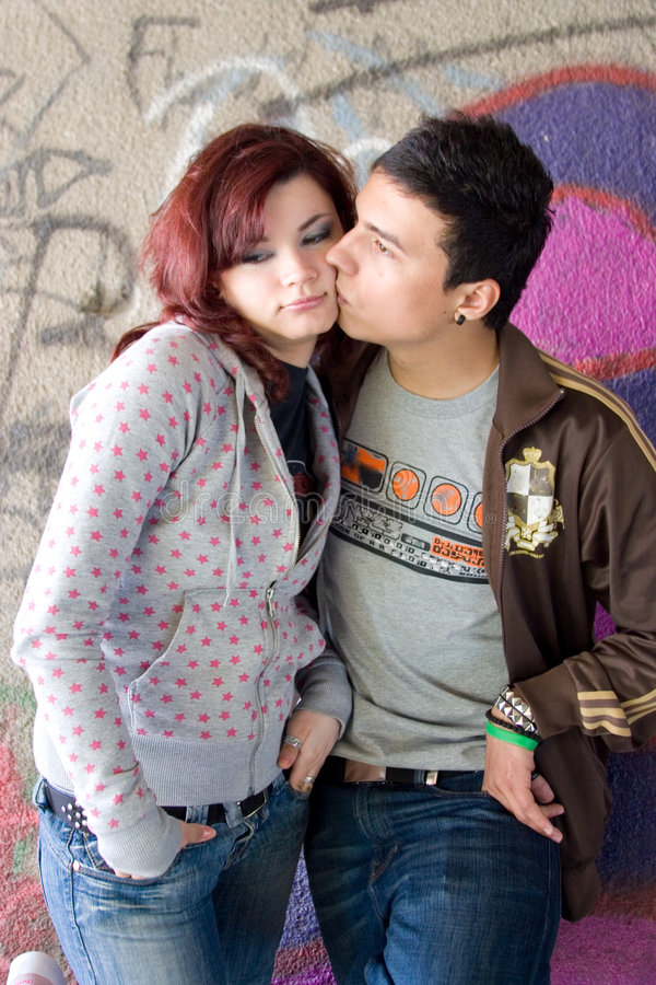 Download Teenage couple stock image. Image of wall, colour, woman - 2365983