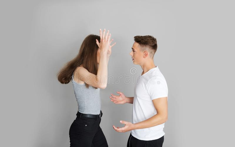 Teenage couple in argument. Two teenagers have argue, couple or friends problems royalty free stock photos