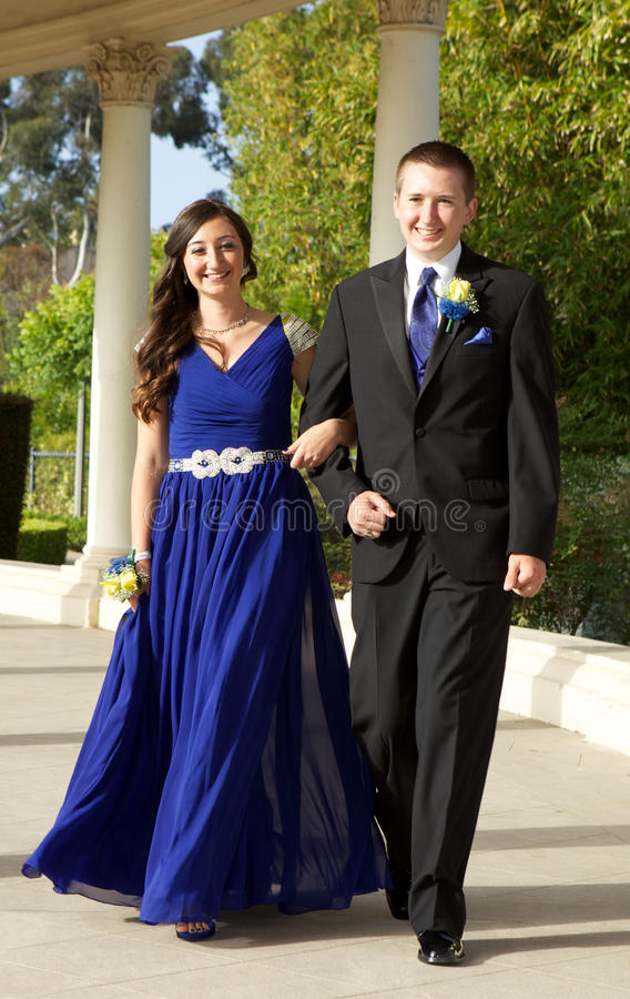 Teenage Couple Going To The Prom Walking And Smiling Stock Photo ...