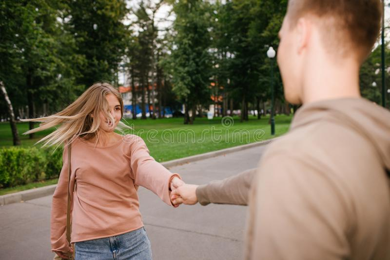 Teenage couple street dancing friendship youth. Carefree young couple street dancing. Romance friendship youth and have fun concept royalty free stock photos