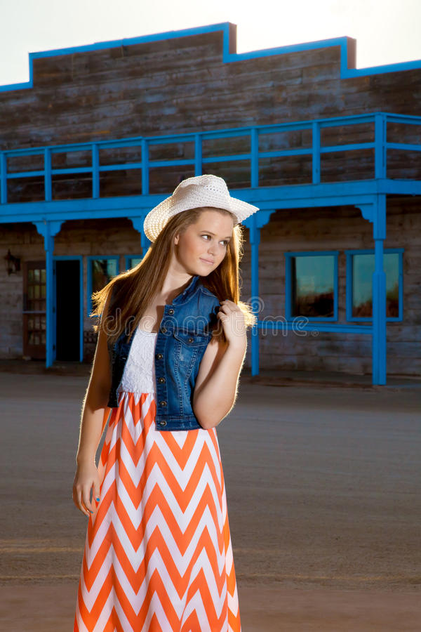 Teenage Cowgirl Chevron Skirt stock photography