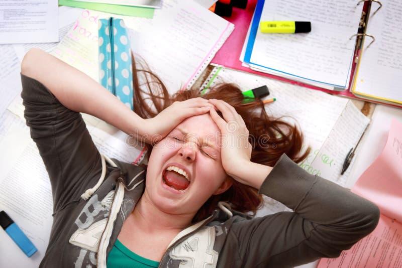 Teenage exam stress royalty free stock photo