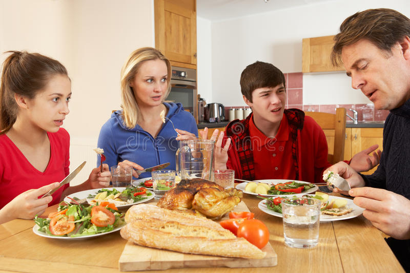 Download Teenage Family Having Argument Whilst Eating Lunch Stock Image - Image: 25665197