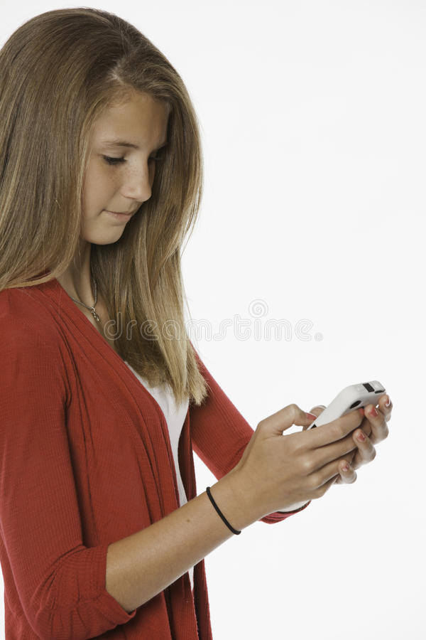 Teenage Female Girl and Cell Phone stock photos