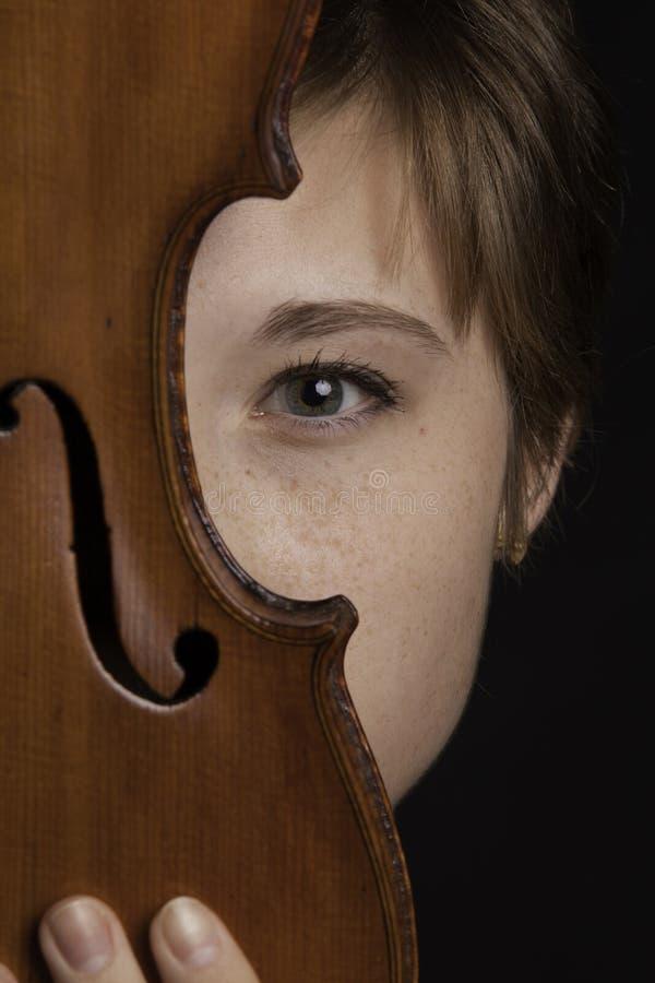 Teenage Female Violinist Eye royalty free stock photography