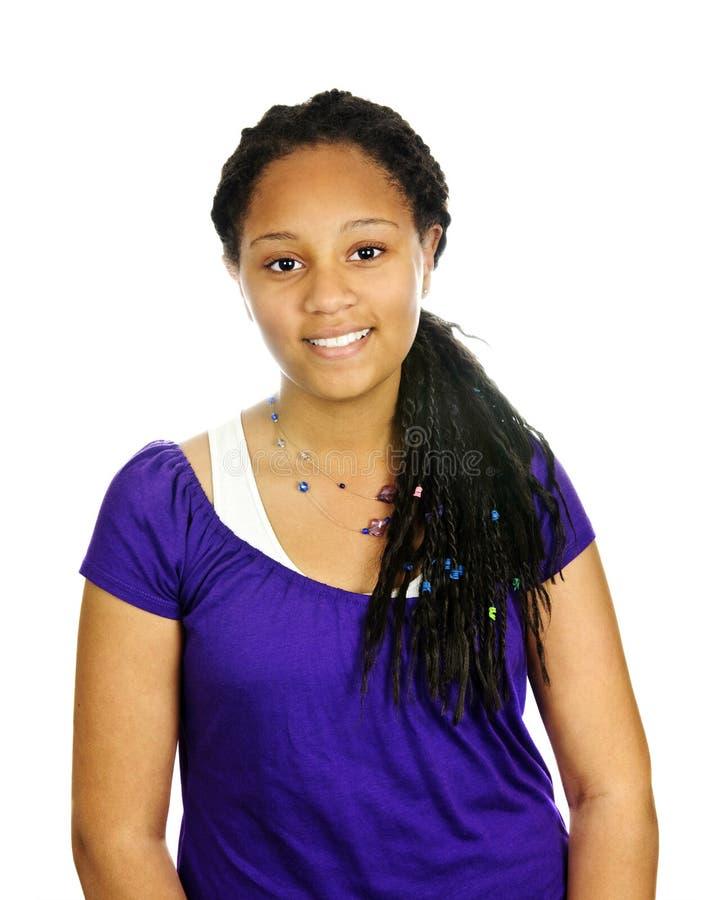 Teenage girl. Isolated portrait of beautiful black teenage girl stock images