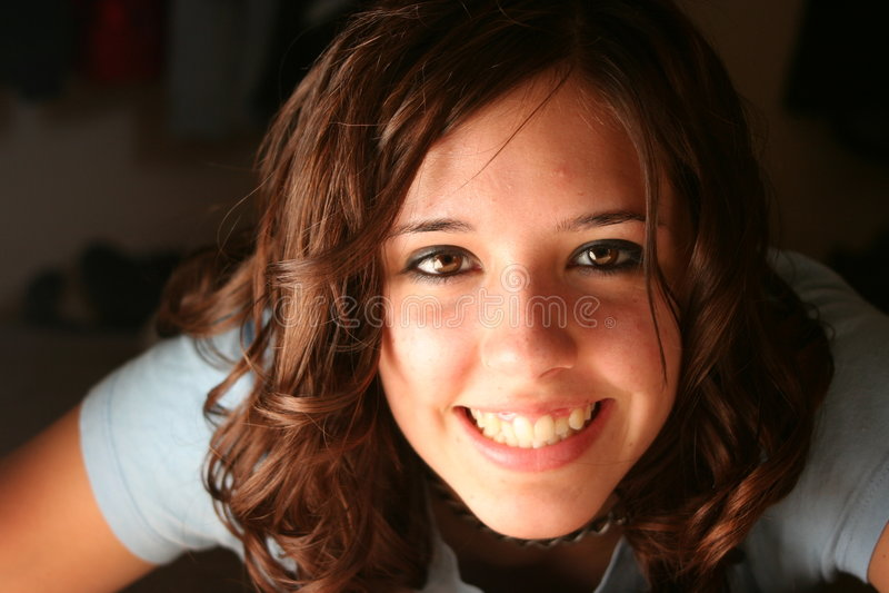 Download Teenage girl stock photo. Image of hair, nose, laying - 1729162