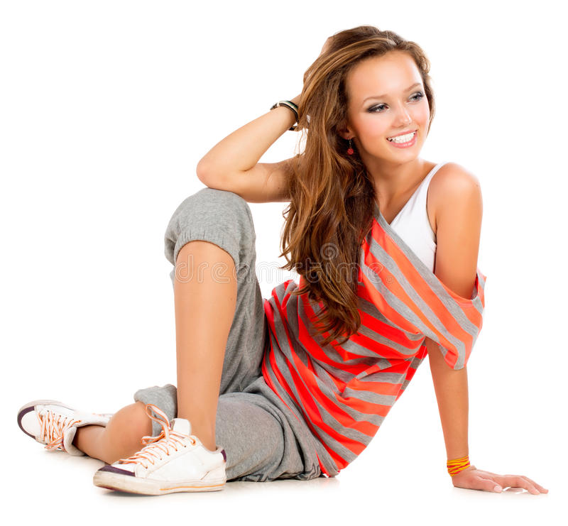 Teenage Girl. On a White Background. Teenager stock images