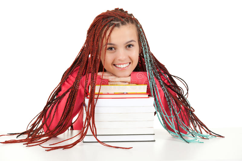 Download Teenage Girl With African Plaits And Books Stock Image - Image: 26433477