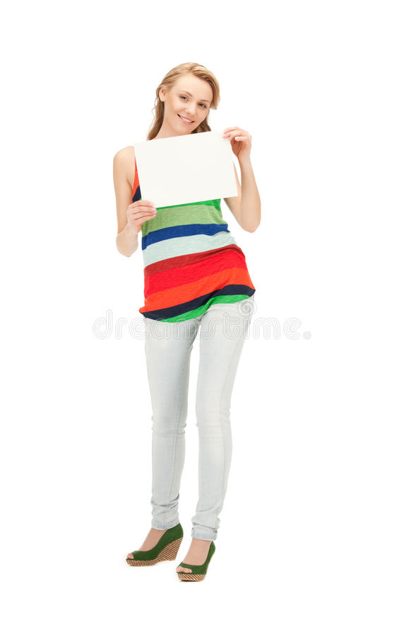 Teenage girl with blank board stock image
