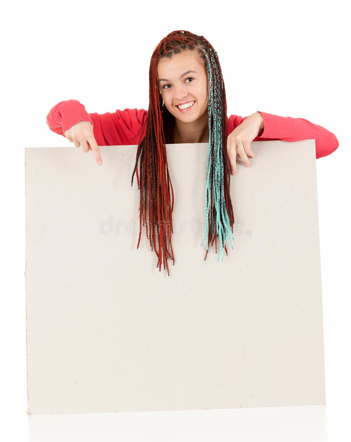 Download Teenage Girl With Braids Pointing On Blank Board Stock Photo - Image of placard, card: 26433362