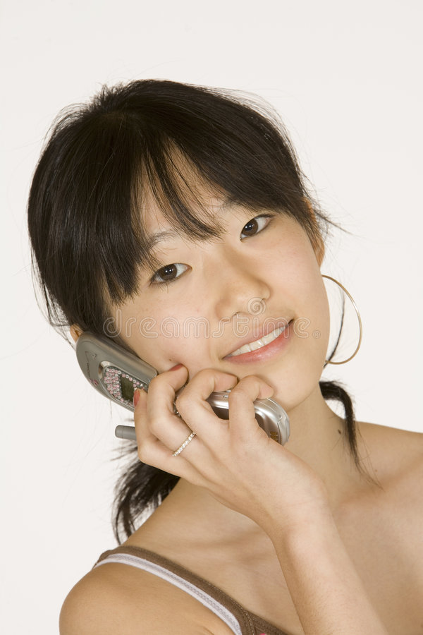 Teenage Girl On Cell Phone Stock Images