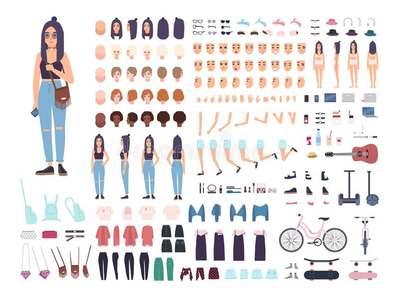 Teenage girl constructor or animation kit. Set of female teenager or teen body parts, facial expressions, hairstyles stock illustration