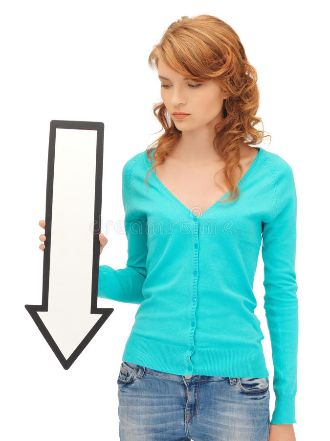 Download Teenage Girl With Direction Arrow Sign Stock Images - Image: 25537794