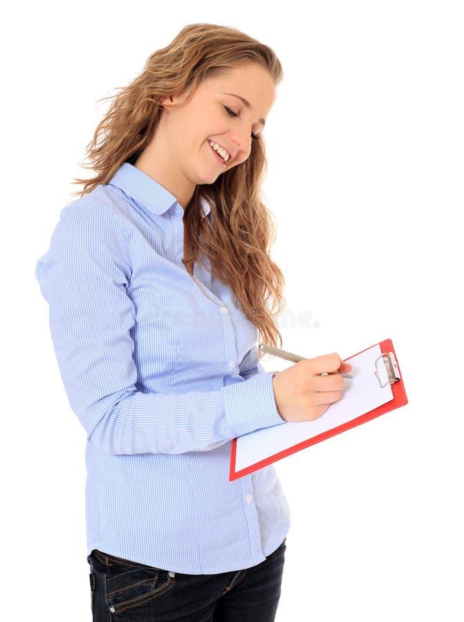 Teenage girl doing a survey