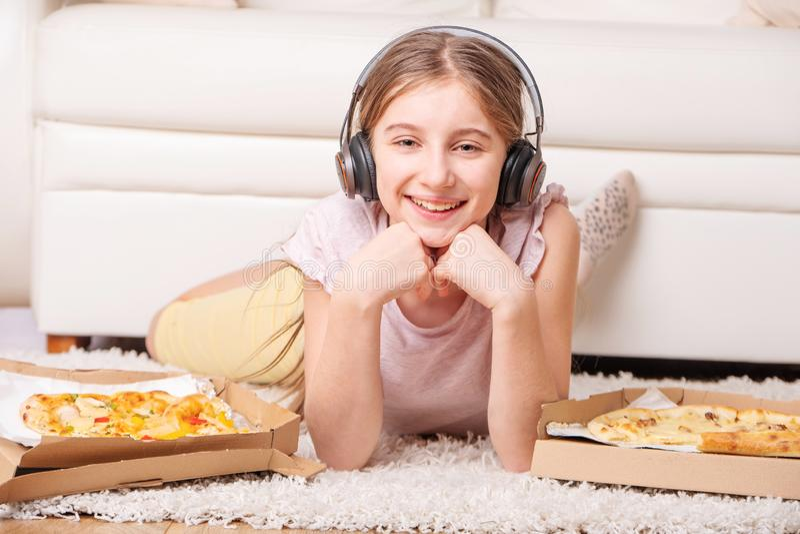 Teenage girl enjoy her leisure stock photo