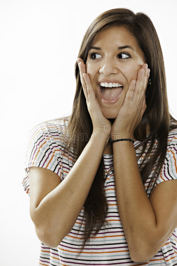 Download Teenage Girl Excited On White Background Stock Photo - Image: 21467272