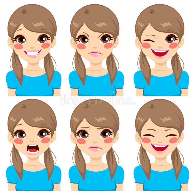 Teenage Girl Face Expressions. Teenage girl making six different face expressions set royalty free illustration