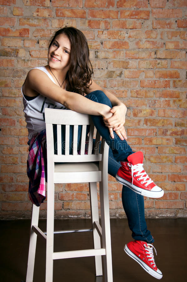 Teenage girl fashion royalty free stock photography