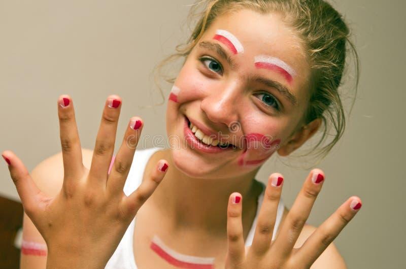 Teenage girl football fan stock images