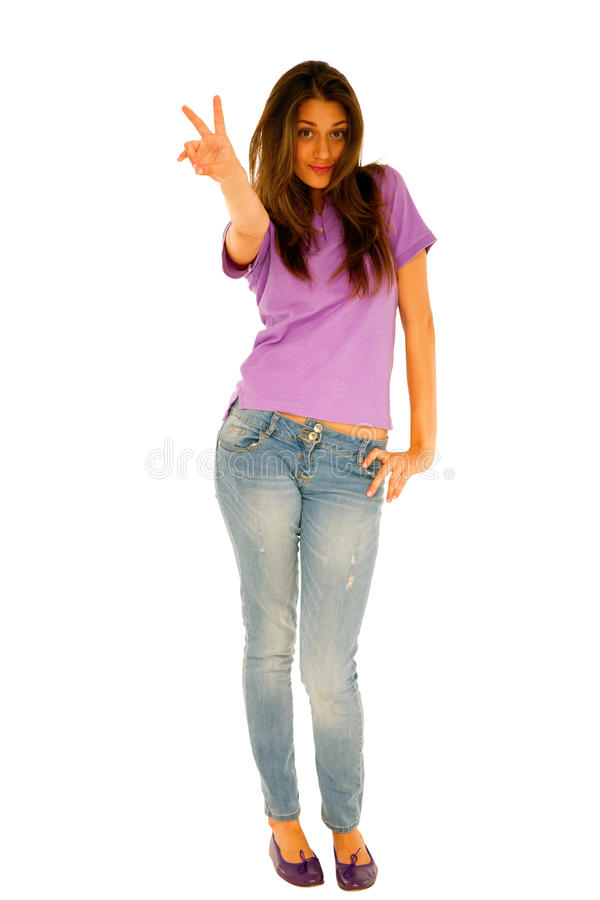 Teenage Girl Giving Peace Sign Royalty Free Stock Photos