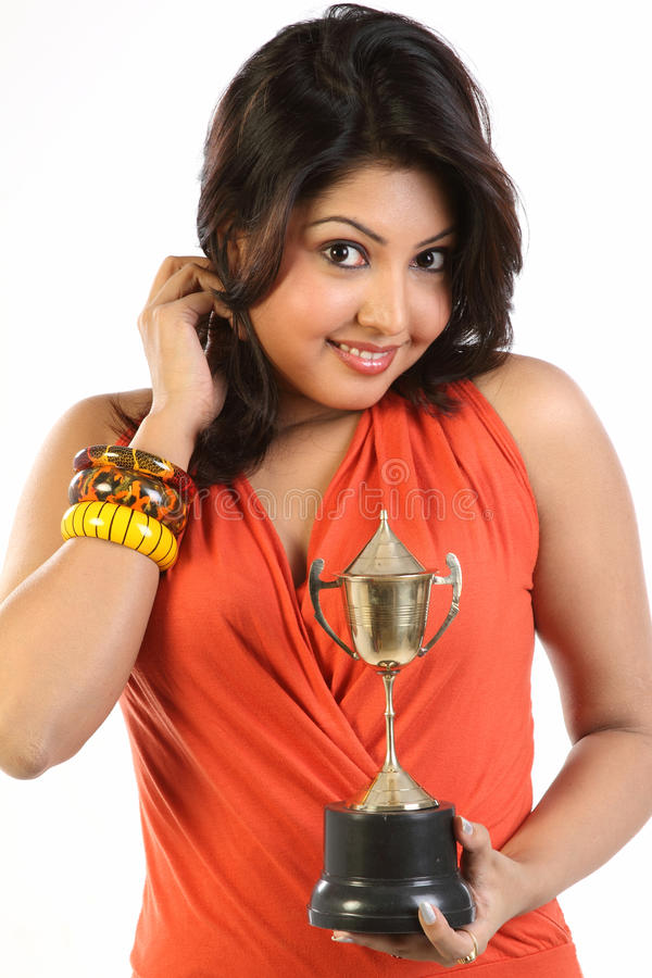 Download Teenage Girl With Gold Trophy Stock Photo - Image of accessories, portrait: 14488932