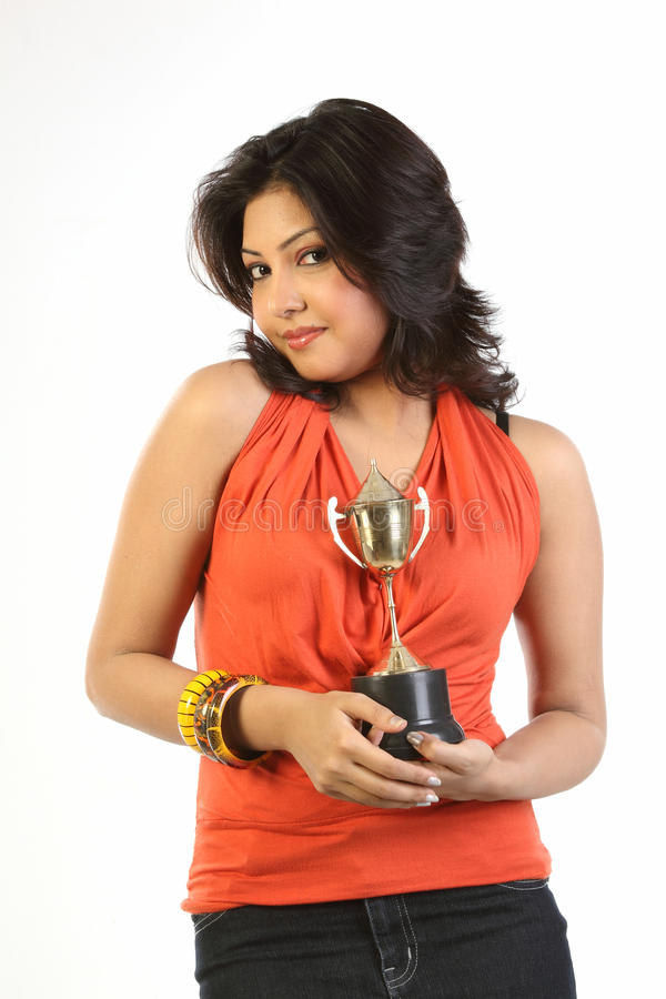 Teenage Girl With Gold Trophy Stock Images