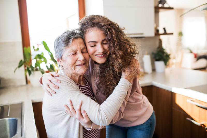 A teenage girl with grandmother at home, hugging. stock photos