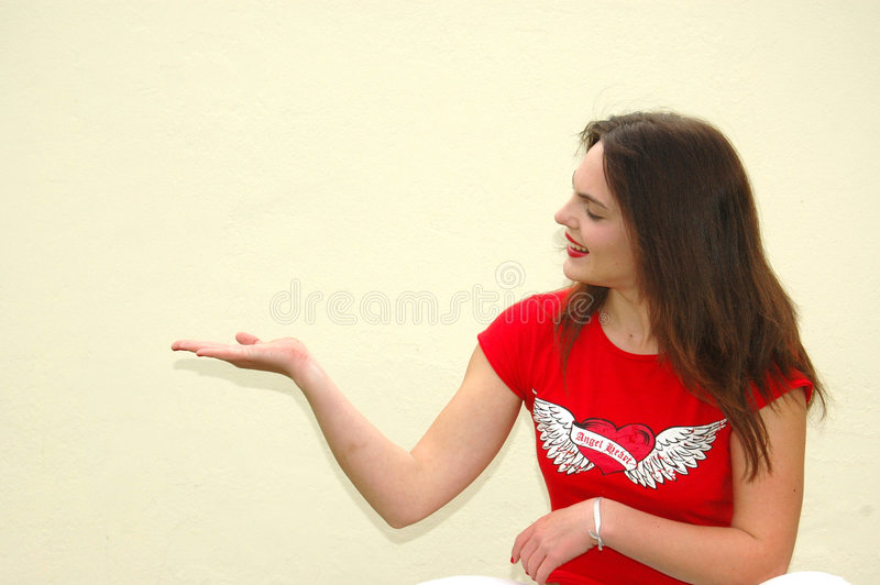 Download Teenage girl with hand out stock image. Image of closeup - 4026525
