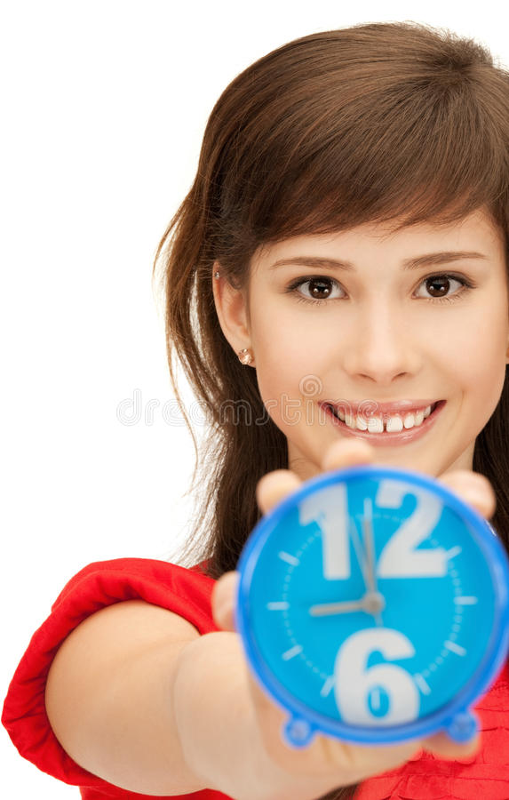Download Teenage Girl Holding Alarm Clock Stock Photo - Image: 40001112