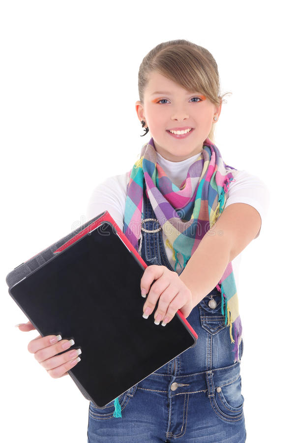Teenage girl holding tablet pc over white