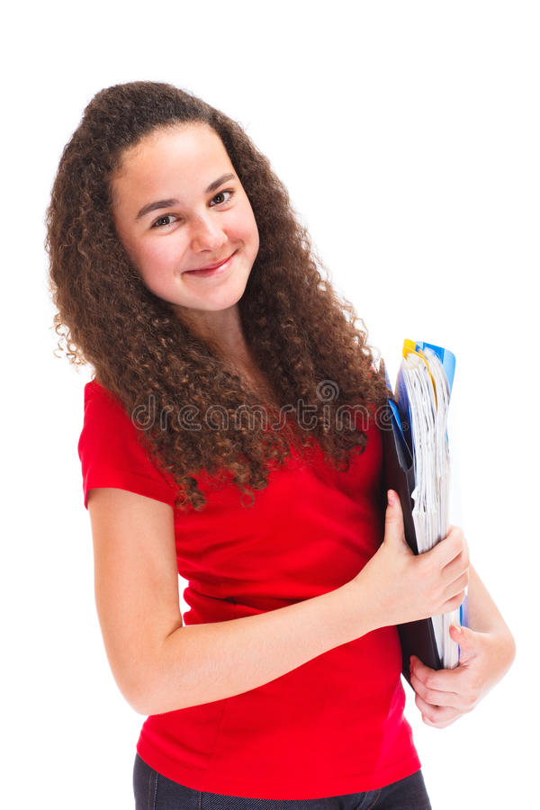 Download Teenage girl isolated stock photo. Image of pretty, books - 26342706