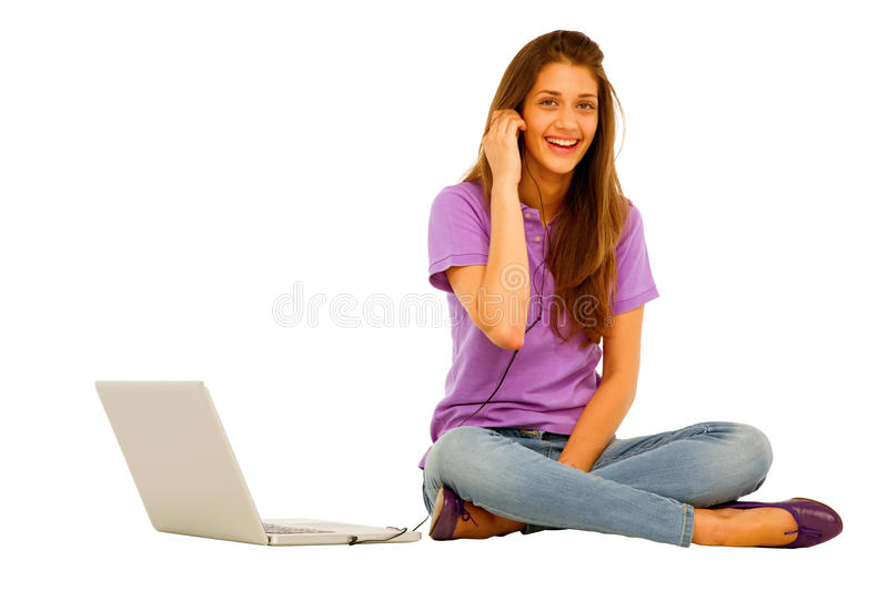Download Teenage girl with laptop stock image. Image of brunette - 26075775