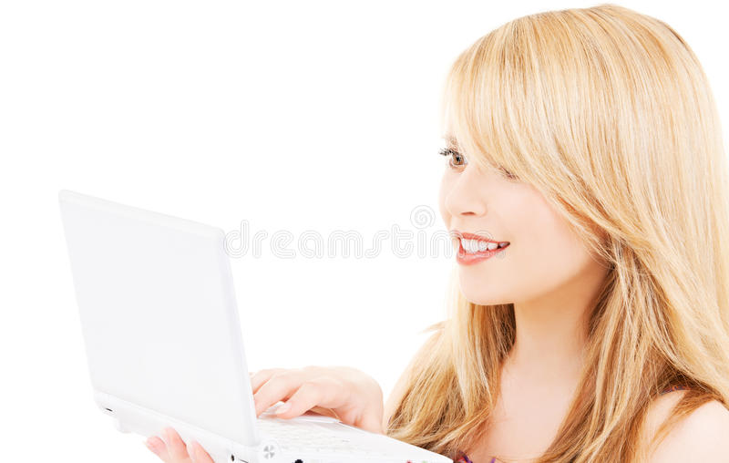 Download Teenage Girl With Laptop Computer Stock Photo - Image: 40484574