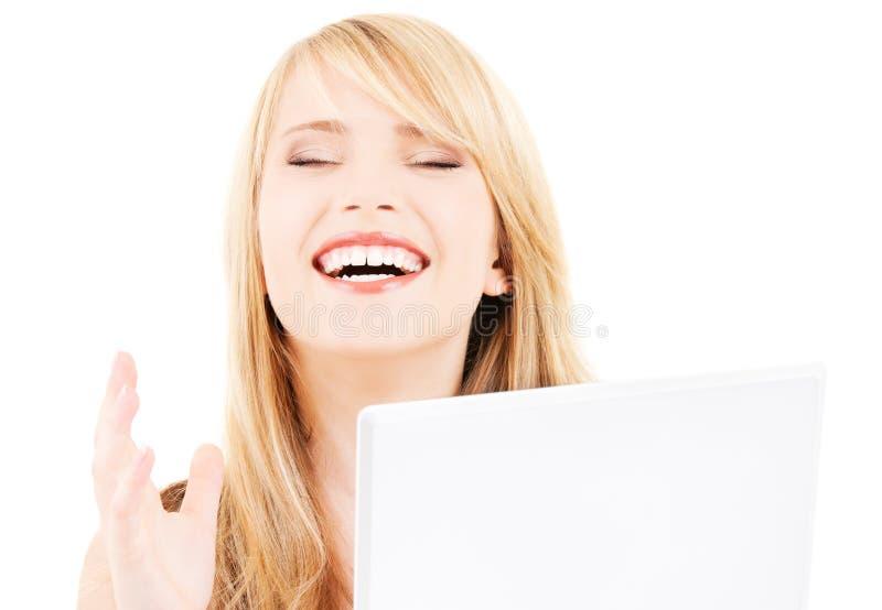 Teenage Girl With Laptop Computer Stock Photo