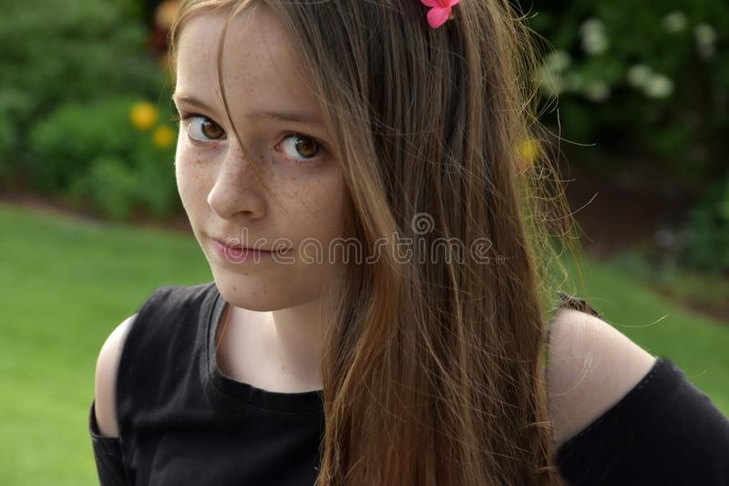 Teenage girl with long brown hair and freckles. Portrait of an adorable cheerful teenage girl with wonderful brown hair and a lot of freckles royalty free stock images
