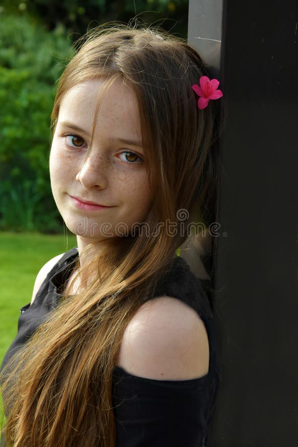 Teenage girl with long brown hair and freckles. Portrait of an adorable cheerful teenage girl with wonderful brown hair and a lot of freckles stock photos