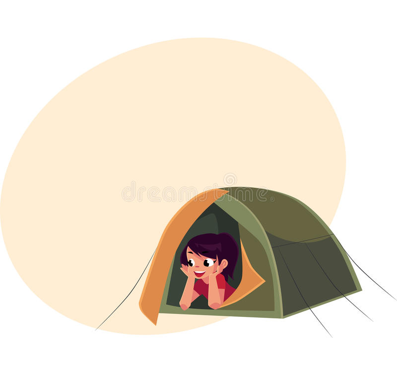 Download Teenage Girl Looking Out Of Tourist Tent C&ing Hiking Concept Stock Vector -  sc 1 st  Dreamstime.com & Teenage Girl Looking Out Of Tourist Tent Camping Hiking Concept ...