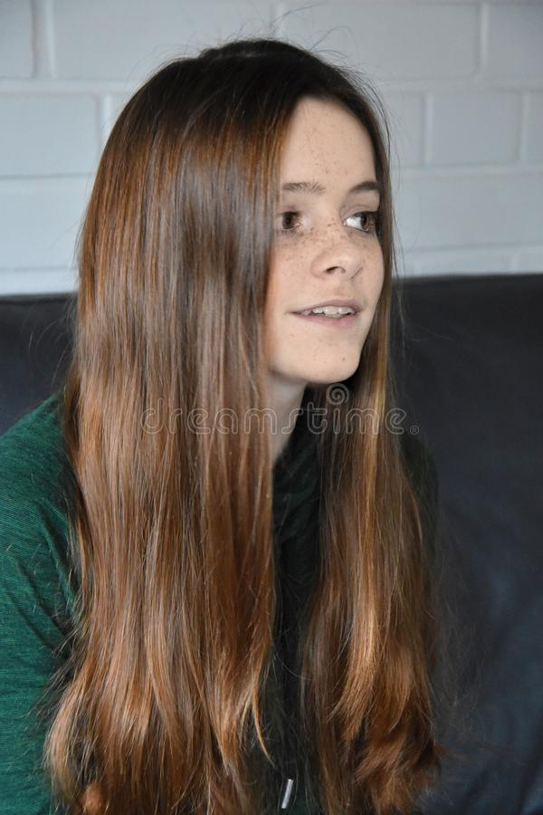 Teenage girl with a lot of freckles. Cute charming teenager girl with a lot of freckles and wonderful brown hair sitting in the living room stock photo