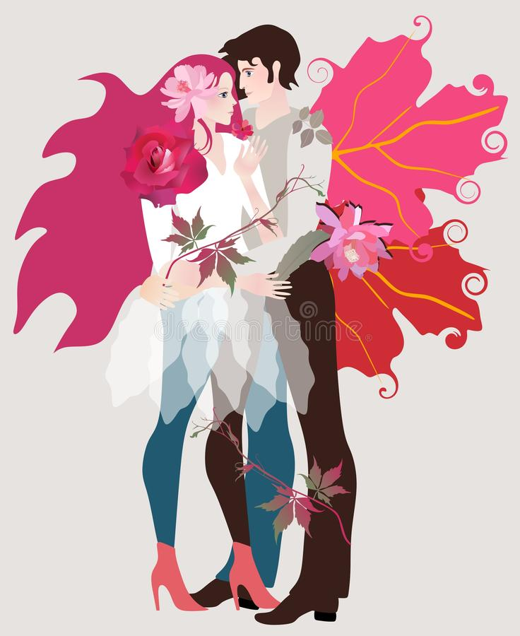 A teenage girl with luxurious crimson hair decorated with flowers and a young man with wings in the form of autumn leaves. Of a guelder-rose embrace each other royalty free illustration