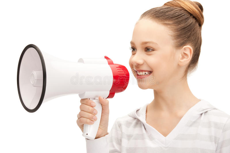 Teenage girl with megaphone stock images